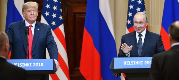 "US President Donald Trump (L) and Russia's President Vladimir Putin attend a joint press conference after a meeting at the Presidential Palace in Helsinki, on July 16, 2018. - The US and Russian leaders opened an historic summit in Helsinki, with Donald Trump promising an ""extraordinary relationship"" and Vladimir Putin saying it was high time to thrash out disputes around the world. (Photo by Yuri KADOBNOV / AFP)        (Photo credit should read YURI KADOBNOV/AFP/Getty Images)"